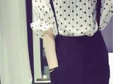 欧洲站春夏新品雪纺衫短袖波点两件套装 修身背带少女时尚套裙潮