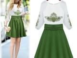 爆款女装 夏季欧洲站 经典时尚刺绣高腰 中袖 假两件中长款连衣裙