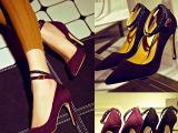 2015春季新款真皮尖头高跟鞋 欧美时尚纯色细跟时尚女鞋厂家直销