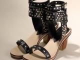 2014夏天新款高帮牛皮柳钉罗马凉鞋黑色白色粗跟露趾女鞋子批发