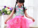 2015中国风女童装短袖连衣裙六一儿童演出服公主蓬蓬裙