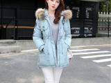 批发2015冬季新款女式棉衣韩版大毛领修身中长款女士羽绒棉服大码