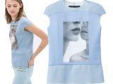 2014欧洲站欧美明星款新款棉短袖3D数码印花大码女士上衣T恤