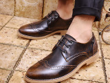 韩版布洛克复古雕花品牌男鞋 圆头系带低帮皮鞋 一件代发228