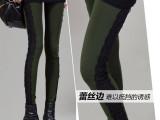 正品高档女装 2015冬新款打底裤 侧边蕾丝保暖小脚打底裤厂家直