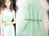 大珍珠领圈露肩性感飘逸凉爽浅绿色连衣短裙【配腰带】