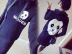 欧洲站早秋新款女装熊猫图案长款连帽卫衣 连衣裙