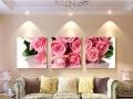 客厅装饰画三联画现代简约沙背景墙面画挂画卧室玫瑰花