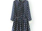 现货 韩版雪纺印花修身连衣裙  春季新款 淑女气质长袖连衣裙批发