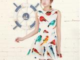 2014夏季新款女装小鸟图案印花修身连衣裙无袖背心欧美风连衣裙子