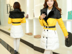 2015新款女装棉衣韩版拼色双排扣连帽毛领棉服 修身休闲羽绒棉衣