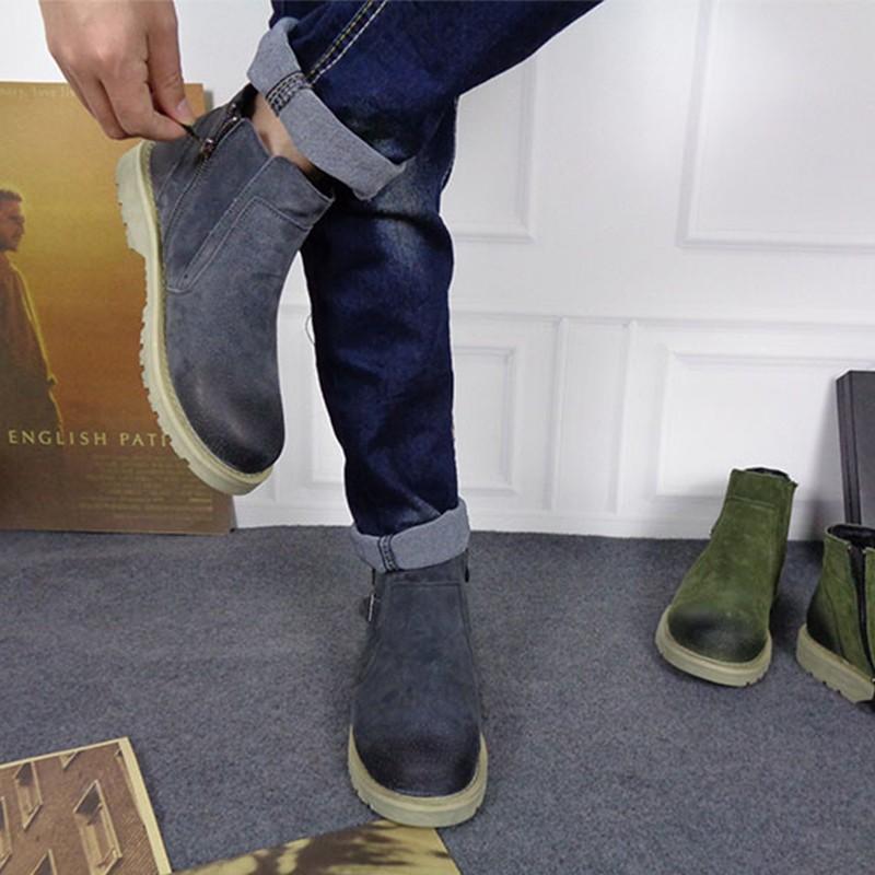 皮靴男士加绒短靴复古圆头擦色靴子英伦马丁靴短筒潮流工装鞋男