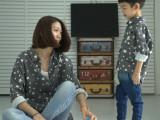 贝贝童品 2015秋款新品童装 儿童棉麻星星衬衫 韩版爆款亲子装
