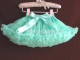 **正品面料欧美风行儿童蓬蓬裙pettiskirt短裙纱裙湖绿色