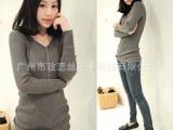 秋冬季新款 韩版女装显瘦V领修身中长款打底毛衣女针织衫8606