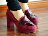 一件可发 新品单鞋 韩版圆头磨砂皮防水台高跟鞋粗跟鞋百搭女鞋子