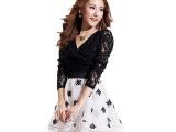 蓬蓬裙萝莉蕾丝拼接镂空网纱长袖职业黑性感连衣裙批发女装