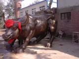 华尔街铜牛大型铸铜雕塑定做现货订做玻璃钢仿铜牛动物雕塑摆件