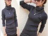 批发2013新款韩版弹力兔绒中长款针织衫高领打底衫毛衣女外套