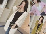 2015秋季东大门女装新款 韩版双口袋中长款宽松毛线针织开衫女款