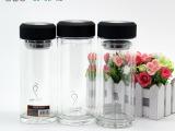 定制浦菲特双层水晶玻璃杯 孔雀系列白金管情侣杯透明色水杯批发