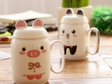 包邮雅诚德卡通动物杯子可爱创意陶瓷杯卡士奇牛奶咖啡马克水杯