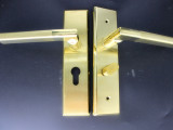 不锈钢门锁 木门机械锁 金色执手锁 50防插锁体 单舌 双舌门锁