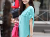 一件代发2014夏装新款下摆开叉短袖t恤女宽松大码女装2040