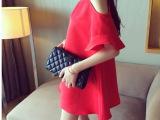 新款夏装韩版品质款露肩荷叶喇叭袖韩版A字娃娃裙连衣裙