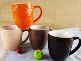 外贸库存陶瓷 450ml外色内白浮雕鼓形杯 礼品马克杯 按箱批发