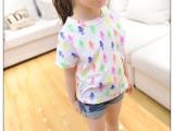 2014新款 童装 女童 七彩机器人印花短袖圆领 T恤