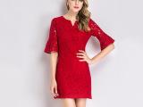 夏季新品女装连衣裙 欧美时尚蕾丝刺绣v领中袖品牌连衣裙厂家直销