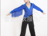 六一新款热销儿童拉丁舞服装男童长袖儿童舞蹈服流苏拉丁厂家直销