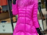 2014韩版明星款滩羊毛大毛领羽绒服女中长款有大码孕妇穿一件代发