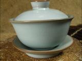 含韵陶瓷 汝窑三才盖碗陶瓷盖碗红茶碗开片紫砂冰裂盖碗茶具配件