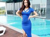 2014新款夜店装连衣裙 低胸不规则裙 修身包臀裙纯色洋装LM1