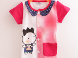 allolugh韩版纯棉卡通刺绣 儿童装短袖半袖开衫上装韩版夏装