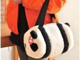 2012春可爱韩国小熊猫 卡通毛绒公仔圆桶斜跨包 舒棉绒圆筒手拎包
