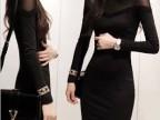 推荐款2013秋冬韩版 莫代尔拼接长袖性感修身打底连衣裙子C1870