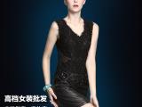 厂家直销批发冬装新款女装羊皮性感打底裙 欧洲站真皮连衣裙