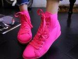 韩版高帮帆布鞋2015女夏新品单鞋糖果色平底系带休闲鞋弹力布女鞋