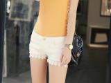 2014韩版修身提臀显瘦白色牛仔短裤 破洞蕾丝花边裤
