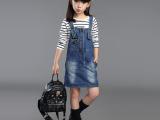 女童秋款背带牛仔裙直销 2015新款童装韩版牛仔童裙 厂家直销