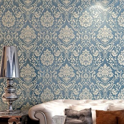 欧式大马士革壁纸 豪华客厅卧室电视机背景墙纸