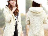 批发秋季新款开衫毛衣 韩版修身显瘦中长款长袖加厚保暖毛衣女