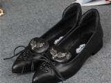 欧洲站2014秋季新款真皮尖头单鞋 街拍款低跟全真皮女鞋时尚潮鞋