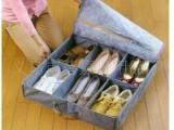 厂家直销 批发木晖 高品质带盖竹炭6格收纳鞋盒 50L