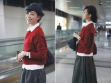 2013欧美原单明星张静初同款毛线上衣+纯色衬衫+毛呢半身裙套装