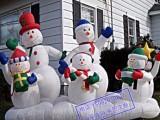 充气圣诞老人模型雪人企鹅礼物拱门定制装饰卡通充气圣诞节美陈