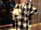 2014秋冬新款韩国东大门毛呢外套女韩版格子中长款毛呢大衣